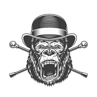 Cabeça de gorila feroz no chapéu fedora
