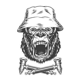 Cabeça de gorila feroz no chapéu panamá