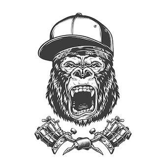 Cabeça de gorila feroz vintage