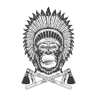 Cabeça de gorila grave monocromático vintage