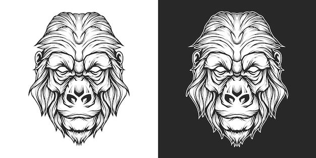 Cabeça de gorila logotipo linha arte
