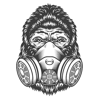 Cabeça de gorila monocromático vintage