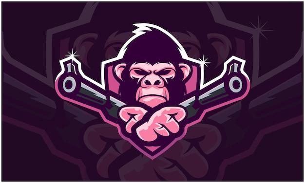 Cabeça de gorila segurando duas armas