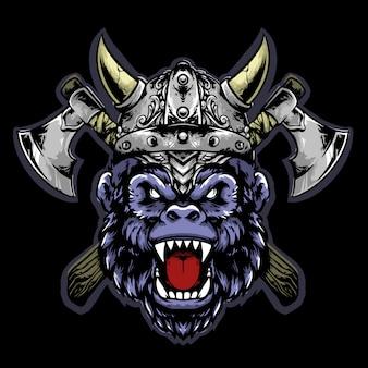 Cabeça de gorila viking com capacete e machado mascote design