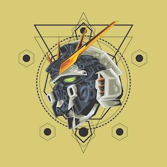 Cabeça de guerreiro de robô