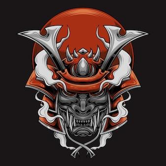 Cabeça de guerreiro samurai com fumaça