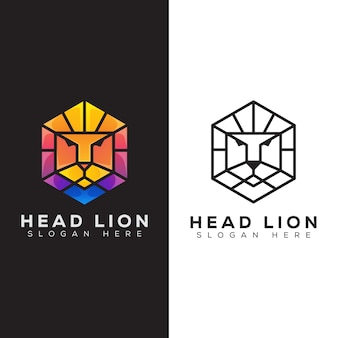 Cabeça de hexágono leão moderno logotipo e estilo de arte linha