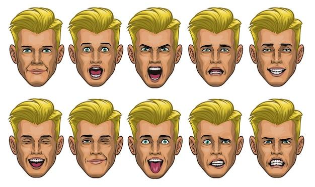 Cabeça de homem branco com várias expressões faciais