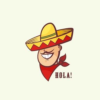 Cabeça de homem mexicano com sombrero tradicional