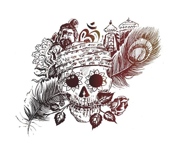 Cabeça de homens com templo de penas de pavão rosa para desenho de caveira de magia negra