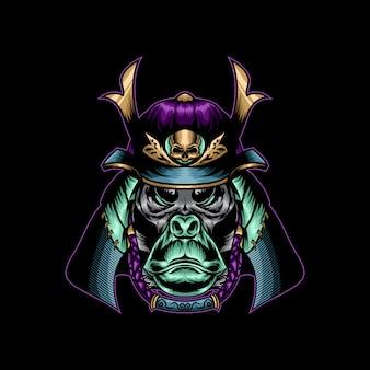 Cabeça de kingkong com ilustração em vetor capacete samurai