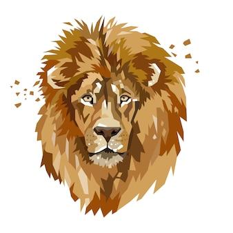 Cabeça de leão abstrata animal logotipo
