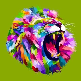 Cabeça de leão bravo colorido