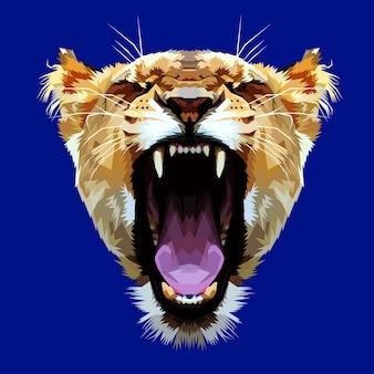 Cabeça de leão colorido com raiva