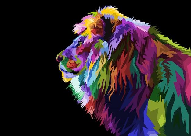 Cabeça de leão colorido no estilo pop art. ilustração.