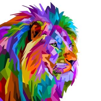 Cabeça de leão colorido no estilo pop art, isolado no fundo branco. ilustração