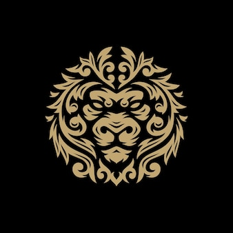 Cabeça de leão com ilustração floral tribal do logotipo em fundo escuro