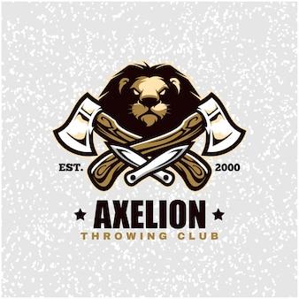 Cabeça de leão com machados e facas, logotipo do clube de arremesso.