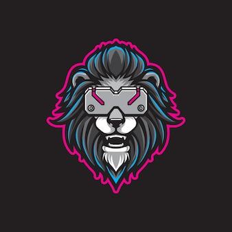 Cabeça de leão cyberpunk