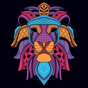 Cabeça de leão decorativo abstrato de cor de néon de brilho