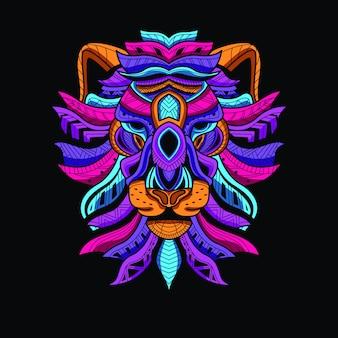 Cabeça de leão decorativo da cor de néon de brilho