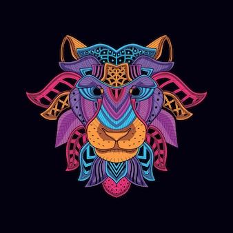 Cabeça de leão decorativo da cor neon