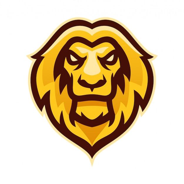 Cabeça de leão e esporte logotipo mascote modelo vector illustration