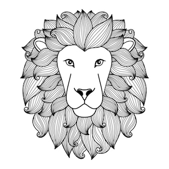 Cabeça de leão em estilo linear preto e branco