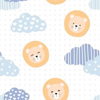 Cabeça de leão fofo no céu dos desenhos animados doodle padrão sem emenda