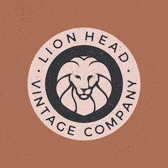 Cabeça de leão logotipo vintage icon ilustração