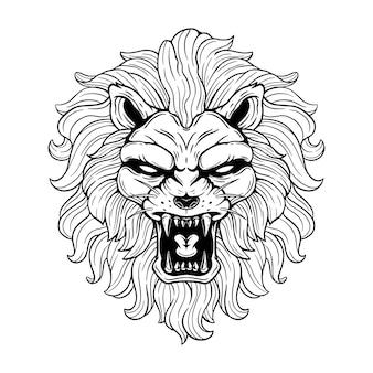 Cabeça de leão macho preto e branco com boca que ruge