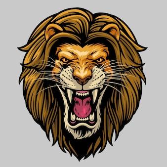 Cabeça de leão macho rugindo com raiva
