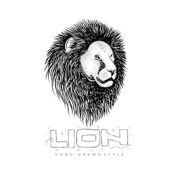 Cabeça de leão, mão desenhada ilustração animal