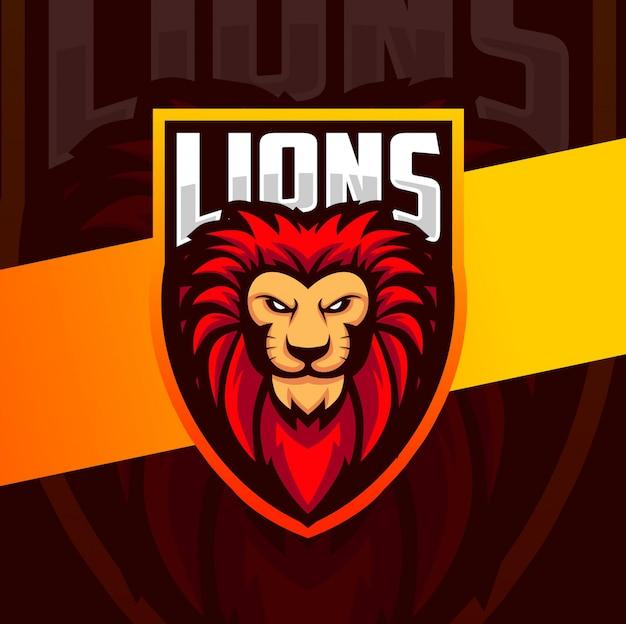 Cabeça de leão mascote esport lgoo design