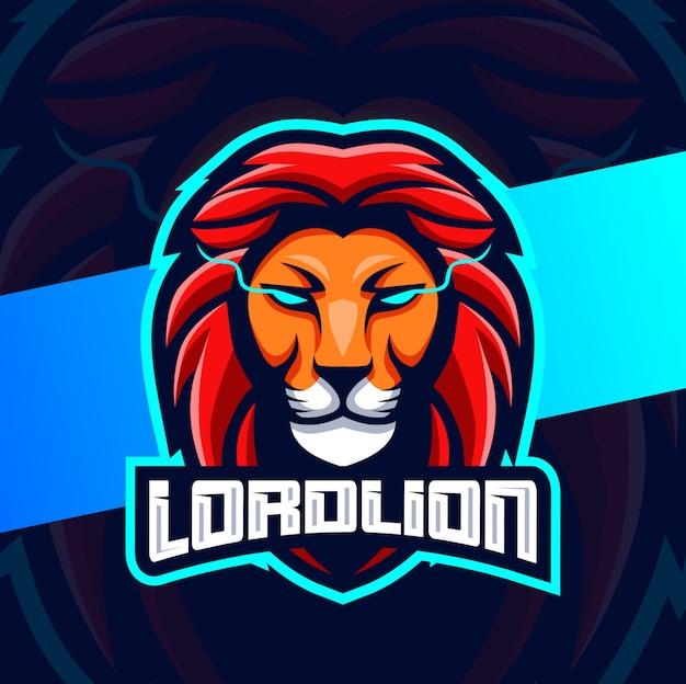 Cabeça de leão mascote esport logotipo