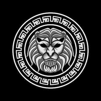 Cabeça de leão na arte de ilustração vetorial de círculo