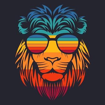 Cabeça de leão óculos retrô