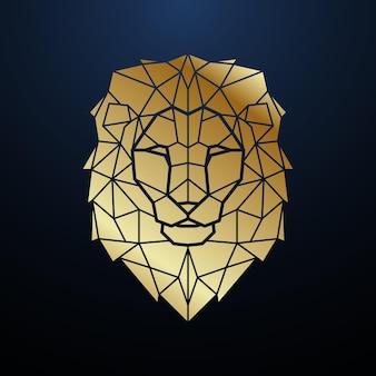 Cabeça de leão poligonal dourada retrato geométrico de leão