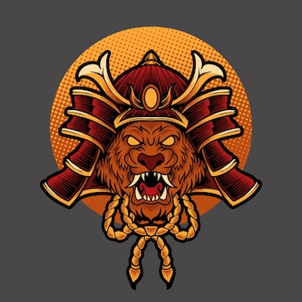 Cabeça de leão samurai