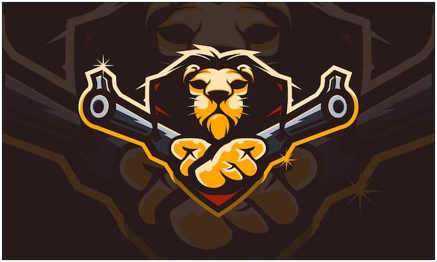 Cabeça de leão segurando duas armas