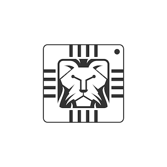Cabeça de leão única e circuito integrado ou símbolo de tecnologia design de logotipo vetorial ilustração inspirada