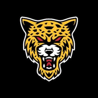 Cabeça de leopardo logotipo mascote design