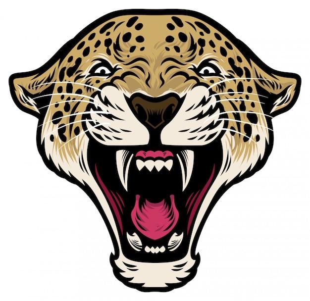 Cabeça de leopardo rugindo