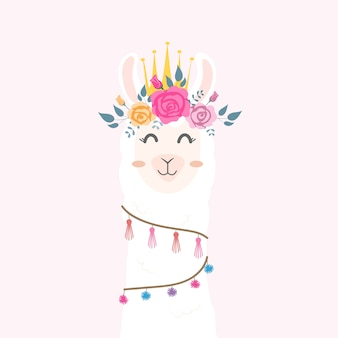 Cabeça de lhama bonito com coroa de flores.