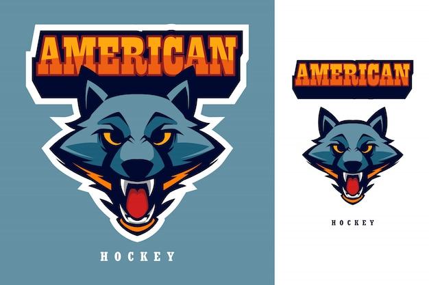Cabeça de lobo americano hóquei esports logo