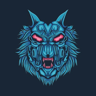 Cabeça de lobo azul