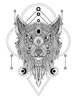 Cabeça de lobo com enfeite de mandala
