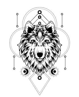 Cabeça de lobo com geometria sagrada