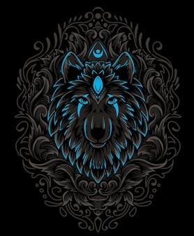 Cabeça de lobo com gravura ornamento