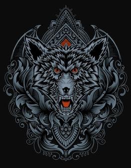 Cabeça de lobo com ornamentos vintage
